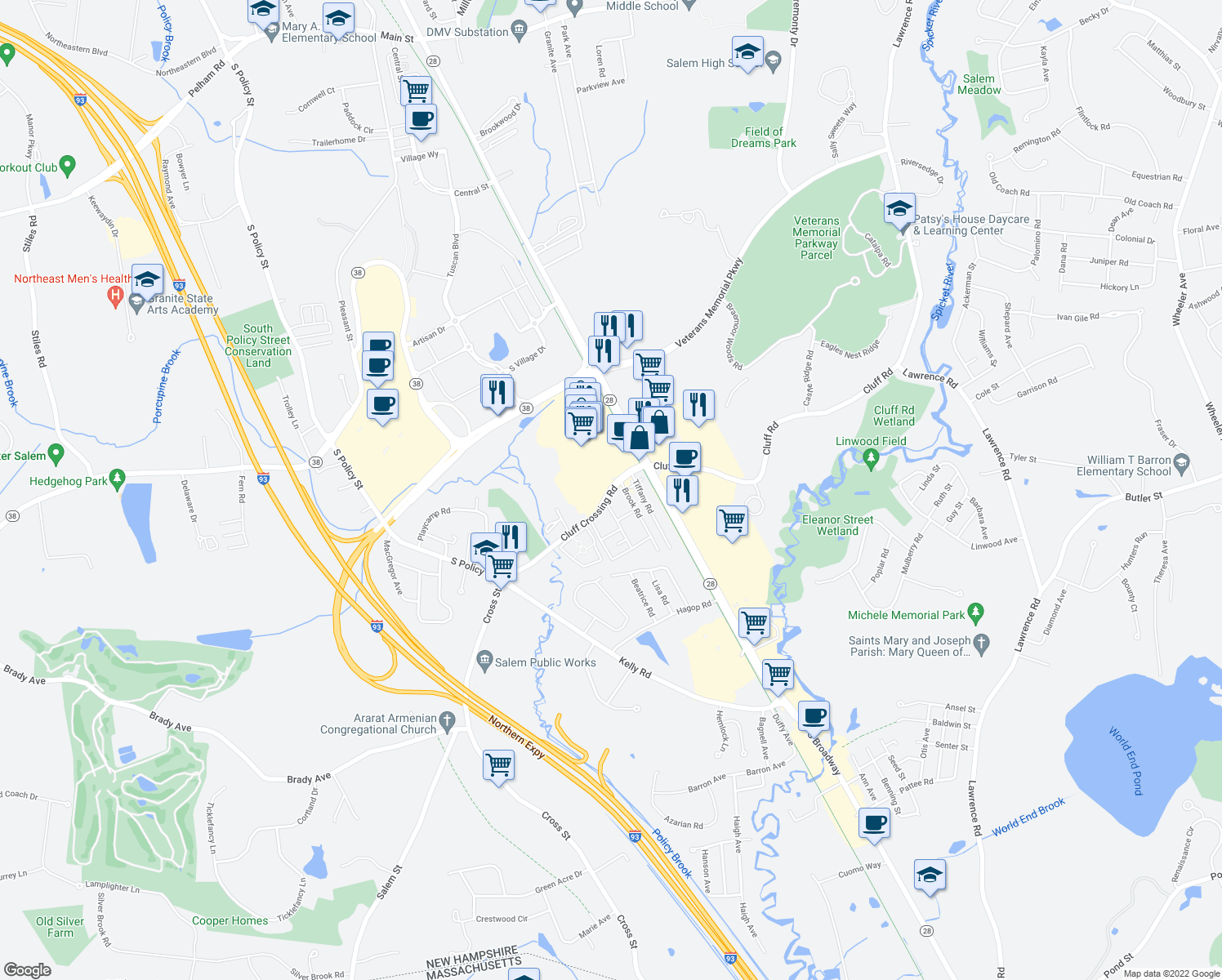 map of restaurants, bars, coffee shops, grocery stores, and more near 102 Cluff Crossing Road in Salem
