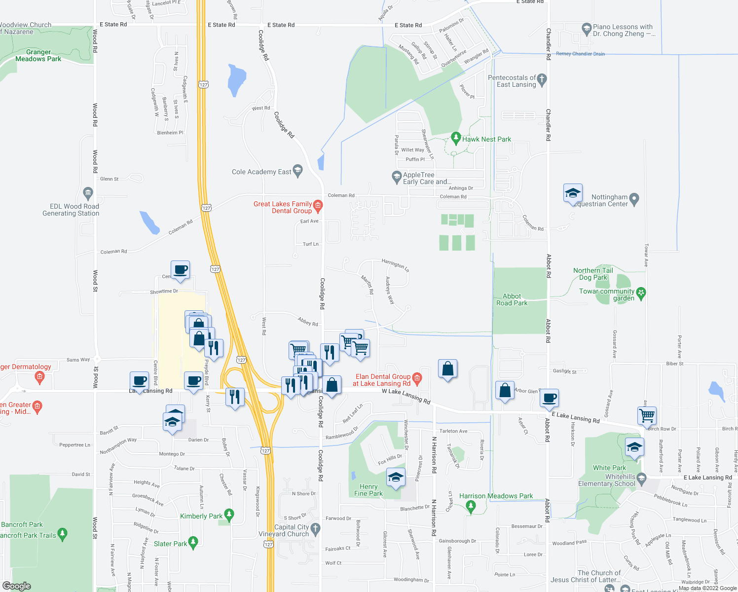map of restaurants, bars, coffee shops, grocery stores, and more near 1204 Hawksridge Ct in East Lansing
