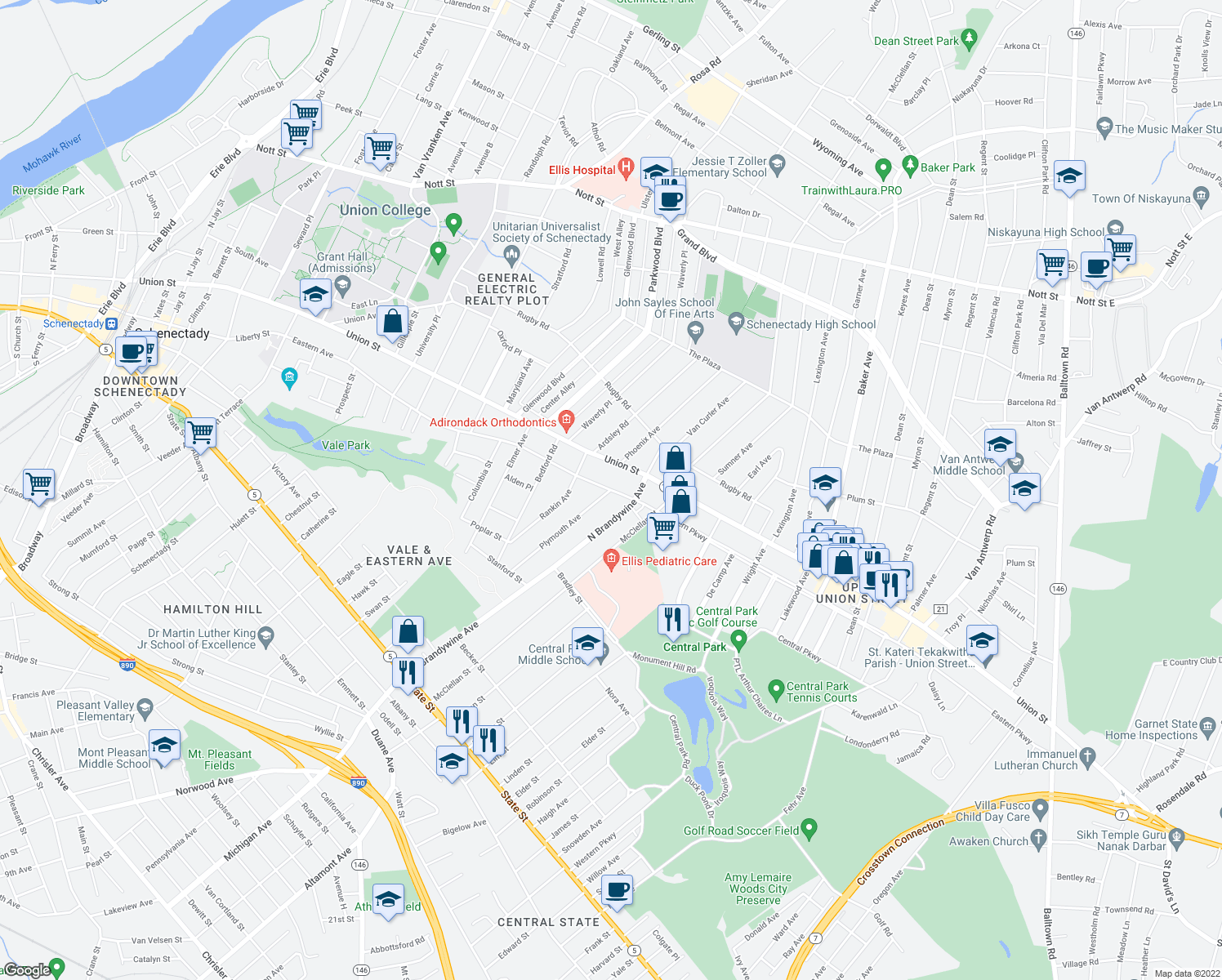 map of restaurants, bars, coffee shops, grocery stores, and more near Eastern Ave & Plymouth Ave in Schenectady