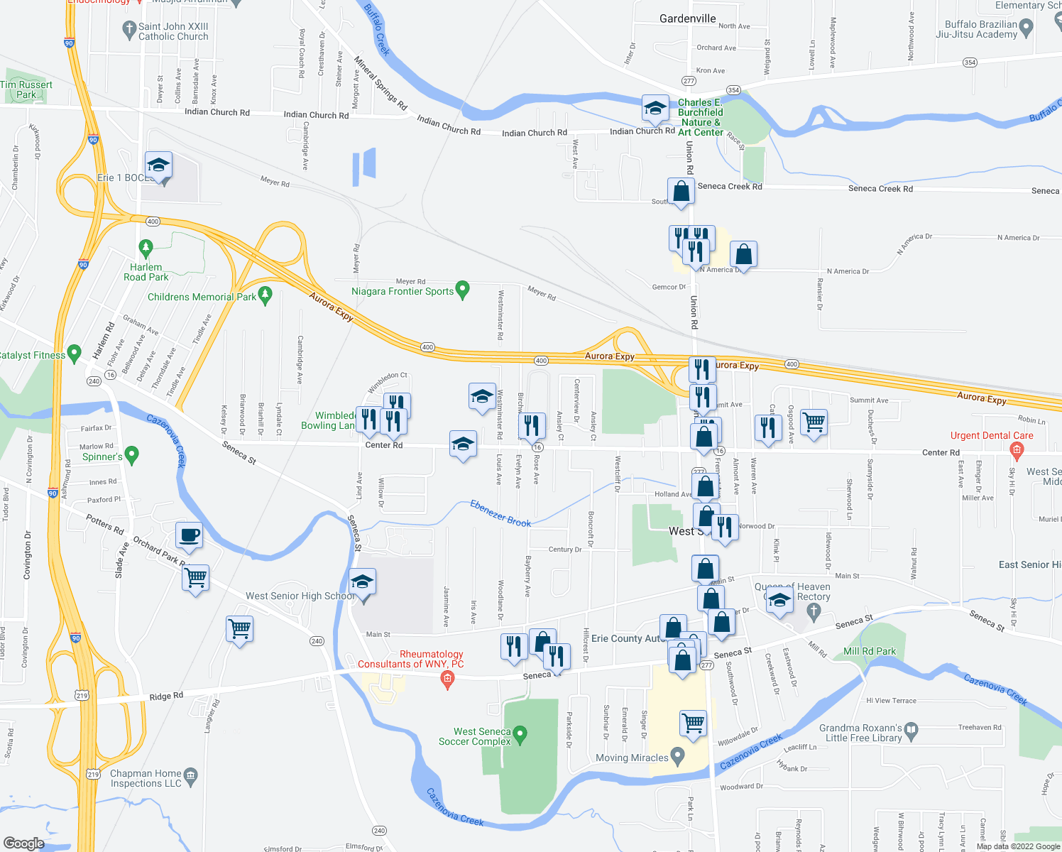 map of restaurants, bars, coffee shops, grocery stores, and more near 501-521 Birchwood Square in West Seneca