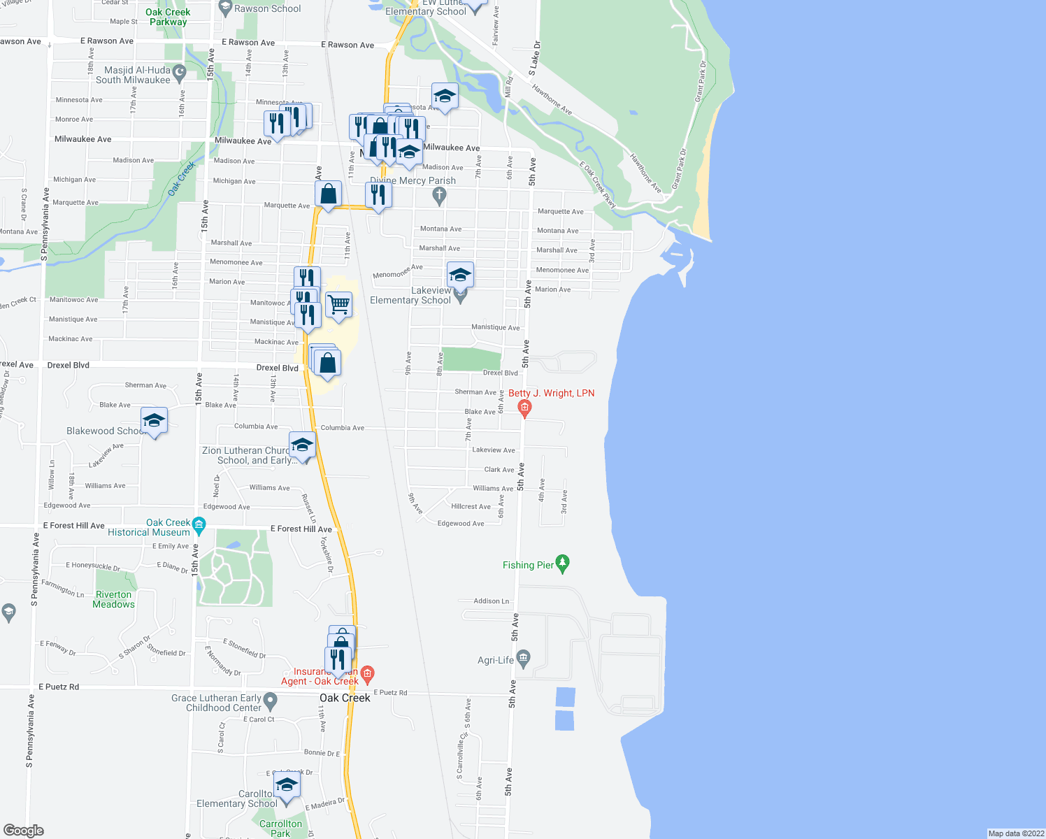 map of restaurants, bars, coffee shops, grocery stores, and more near S 5th Ave & Marina Rd in South Milwaukee
