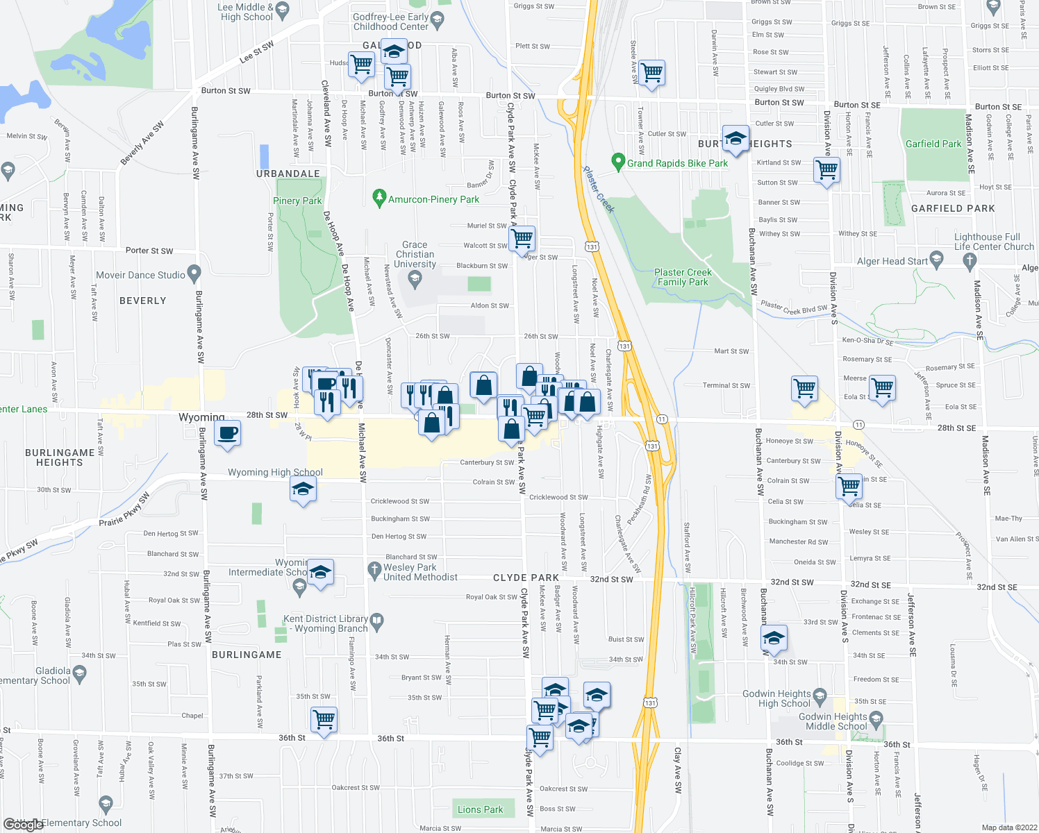 map of restaurants, bars, coffee shops, grocery stores, and more near 28th St SW & Clyde Park Ave SW in Wyoming