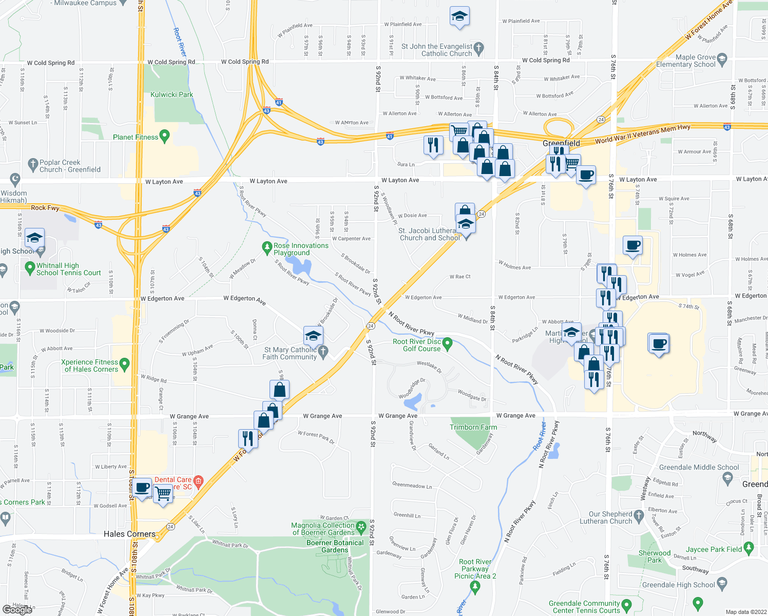 map of restaurants, bars, coffee shops, grocery stores, and more near W Forest Home Ave & S 92nd St in Greenfield