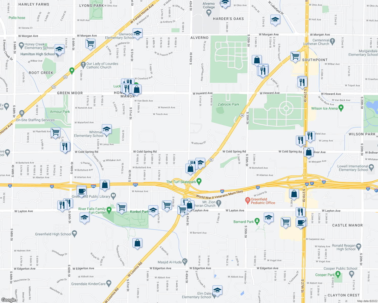 map of restaurants, bars, coffee shops, grocery stores, and more near S 43rd St & W Cold Spring Rd in Greenfield