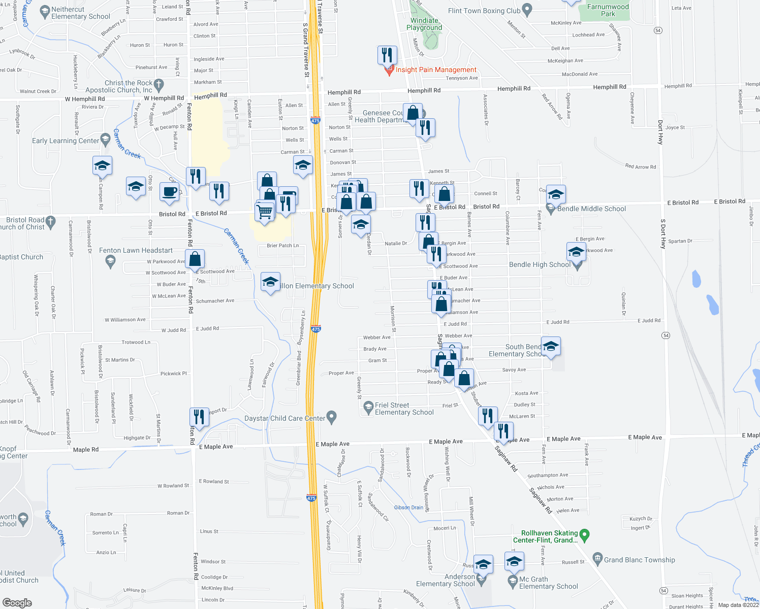 map of restaurants, bars, coffee shops, grocery stores, and more near 1408 East Schumacher Avenue in Burton