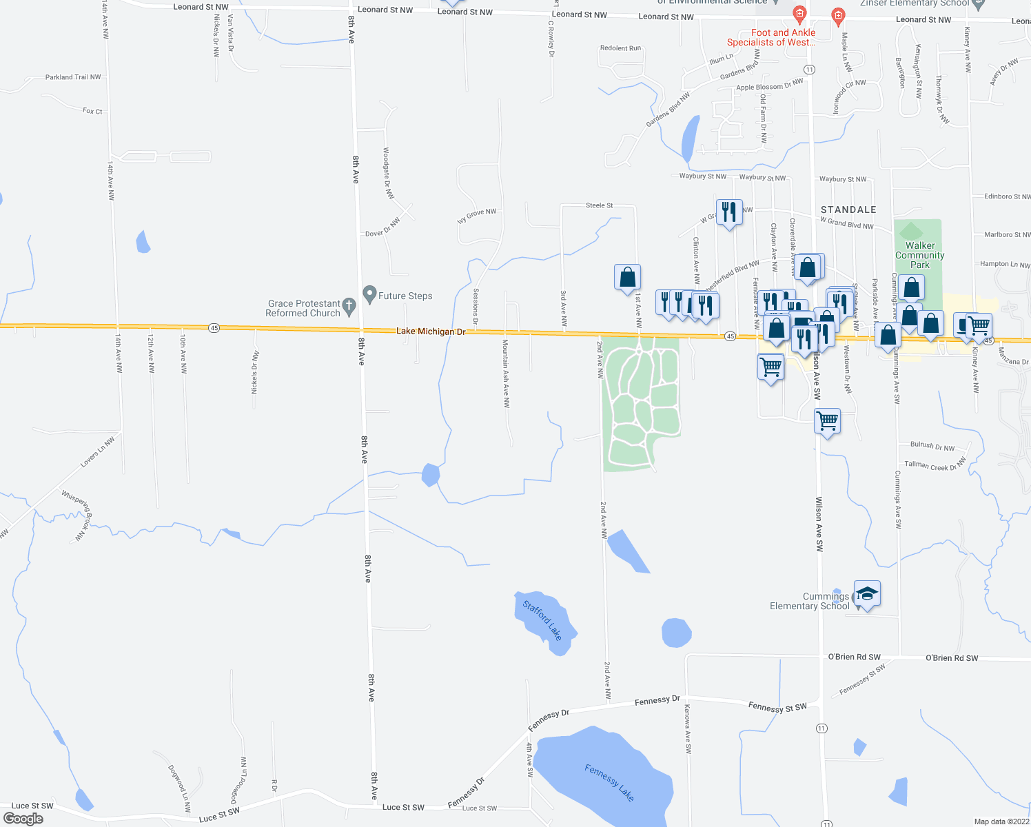 map of restaurants, bars, coffee shops, grocery stores, and more near 10992 Mountain Ash in Grand Rapids