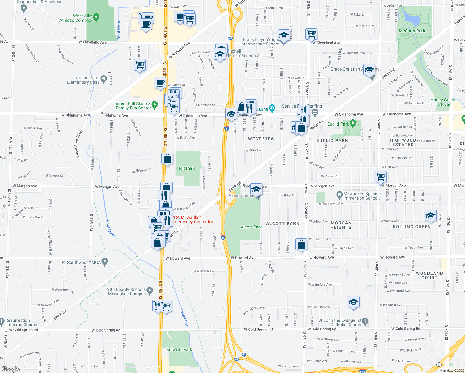 map of restaurants, bars, coffee shops, grocery stores, and more near 10050 W Beloit Rd in Greenfield