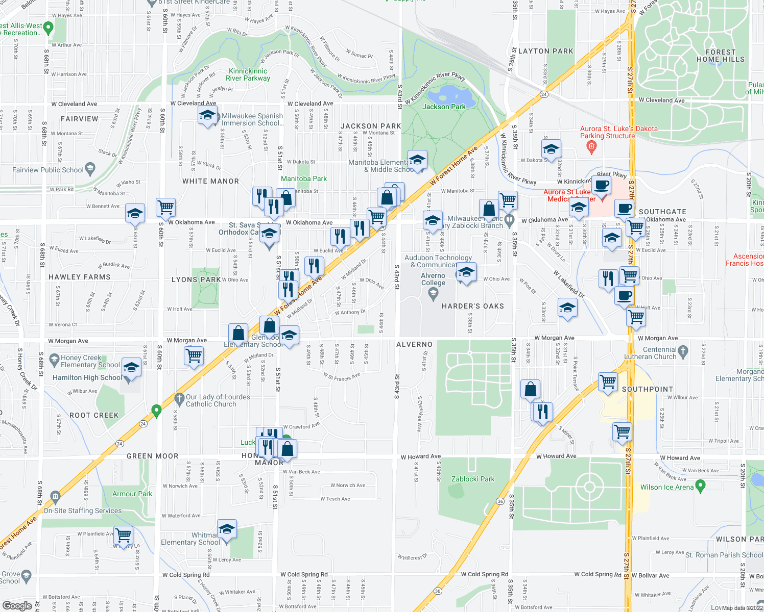 map of restaurants, bars, coffee shops, grocery stores, and more near 3354 S 44th St in Greenfield