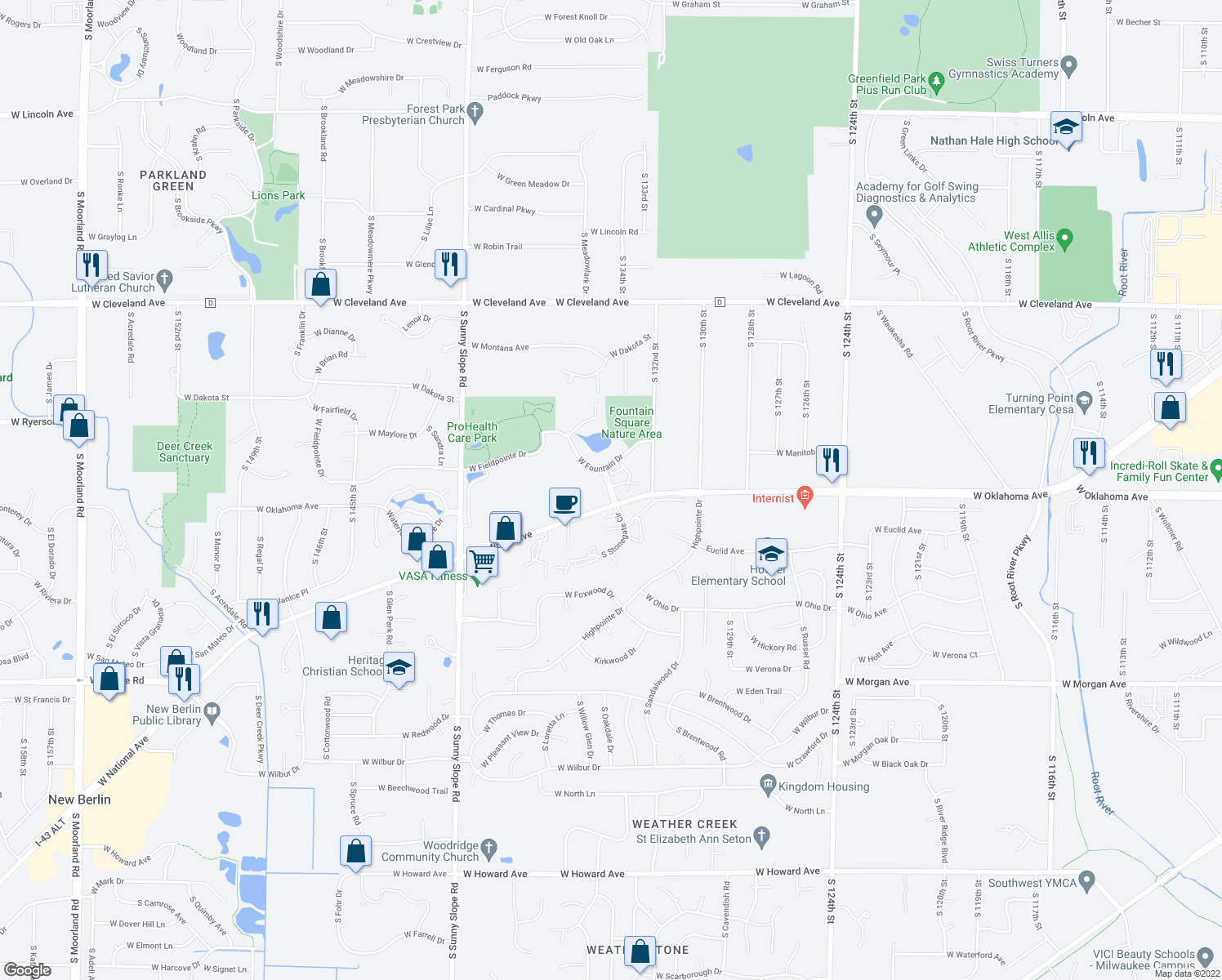 map of restaurants, bars, coffee shops, grocery stores, and more near 3100 Fountain Square Boulevard in New Berlin
