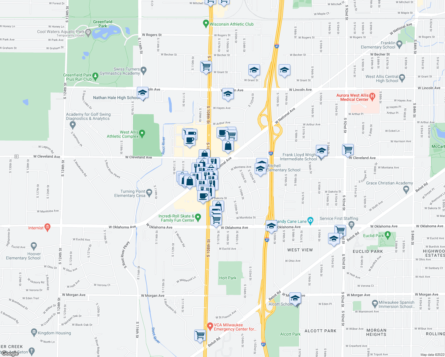 map of restaurants, bars, coffee shops, grocery stores, and more near 10451 West Montana Avenue in West Allis