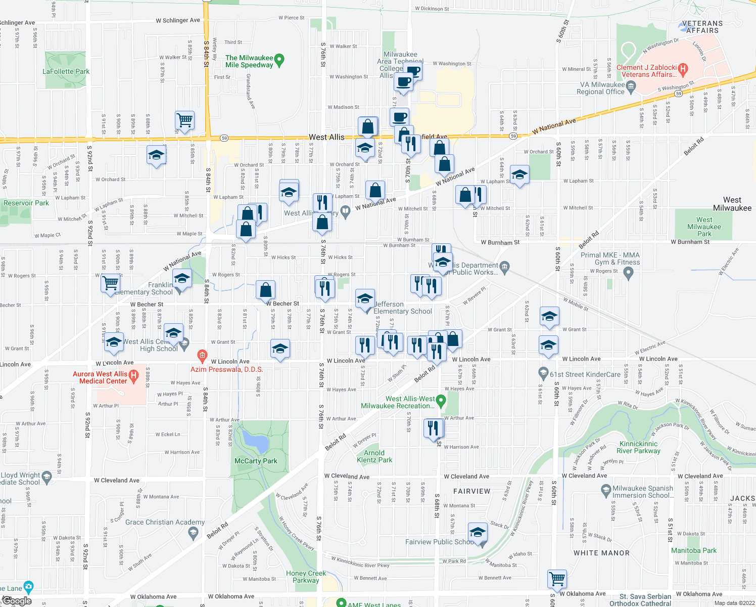 map of restaurants, bars, coffee shops, grocery stores, and more near W Becher St & S 72nd St in West Allis