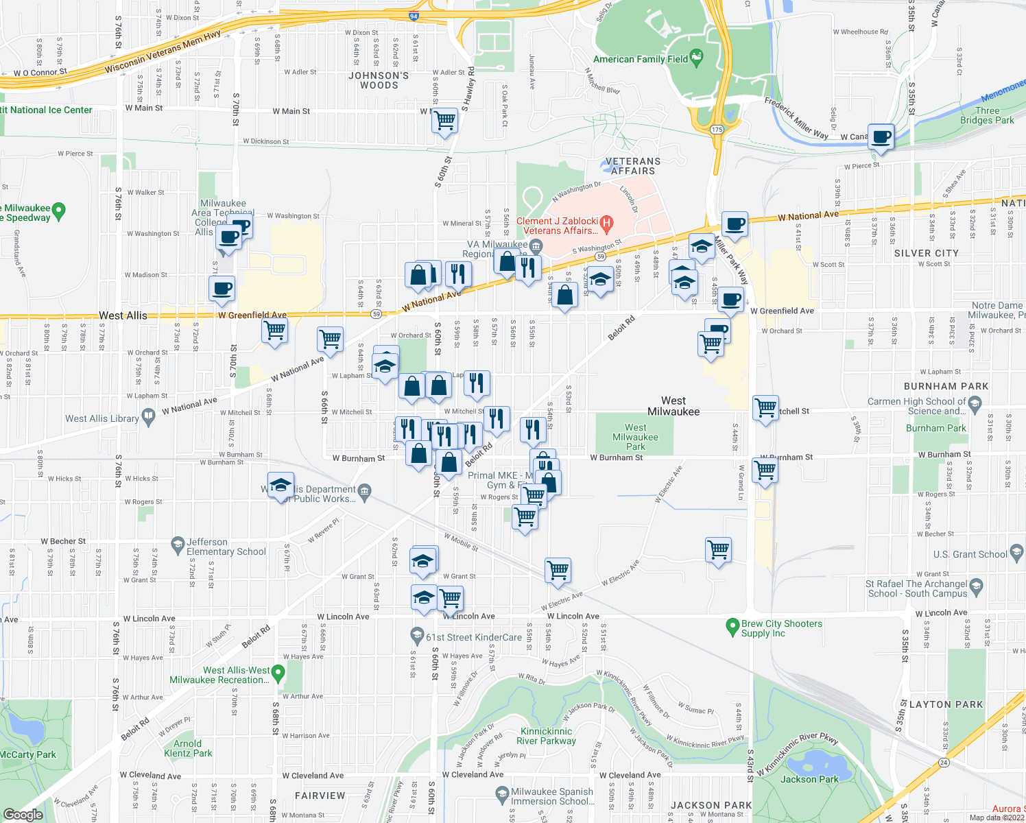 map of restaurants, bars, coffee shops, grocery stores, and more near W Mitchell St & S 56th St in West Milwaukee