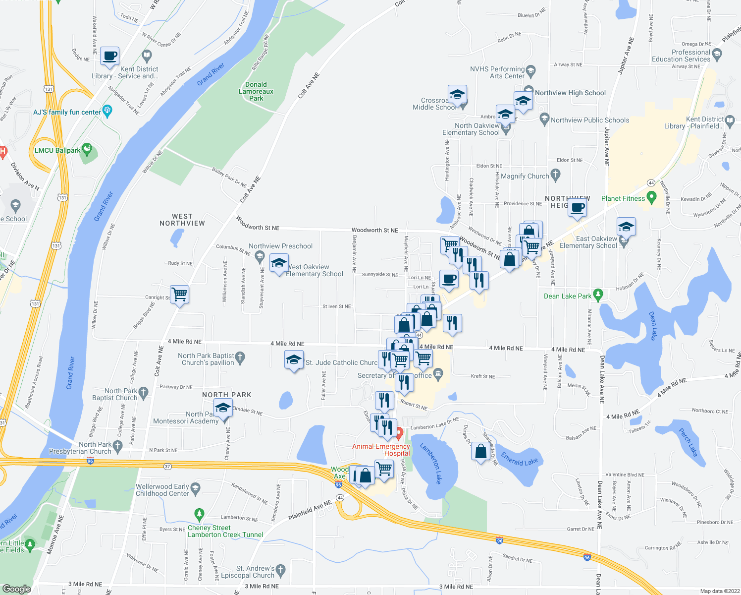 map of restaurants, bars, coffee shops, grocery stores, and more near 3742 Benjamin Avenue Northeast in Grand Rapids