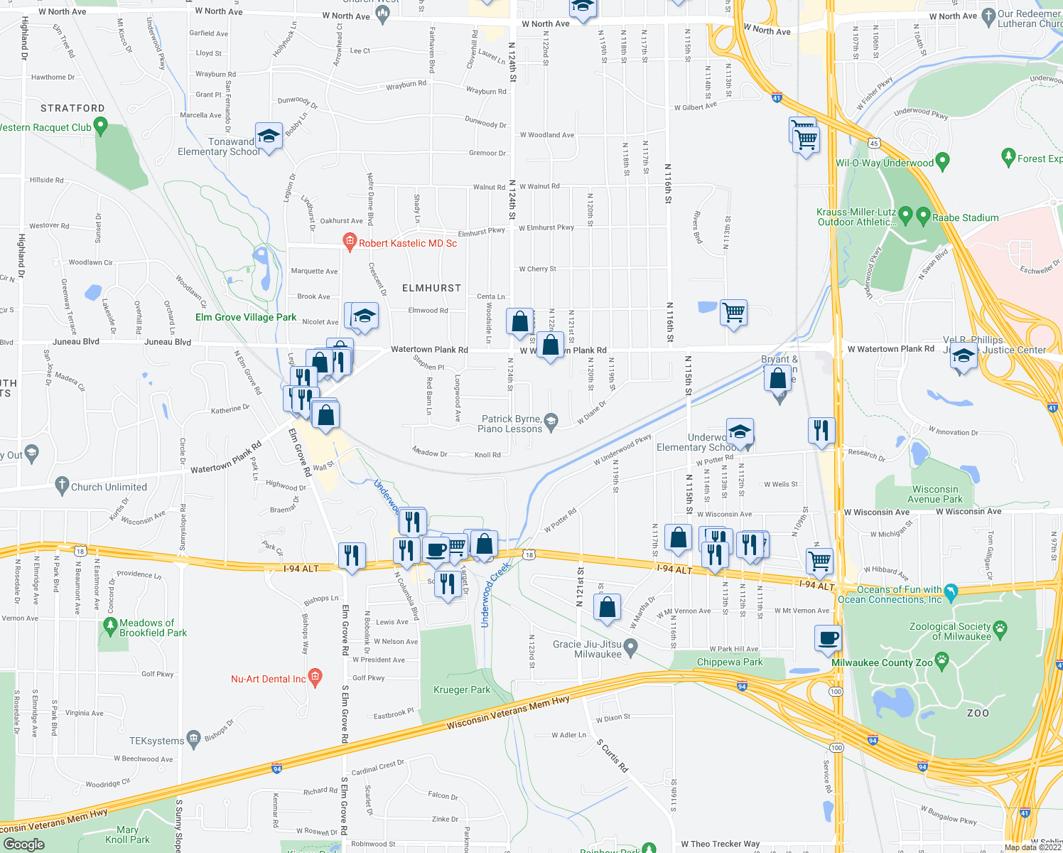 map of restaurants, bars, coffee shops, grocery stores, and more near 960 N 123rd St in Wauwatosa