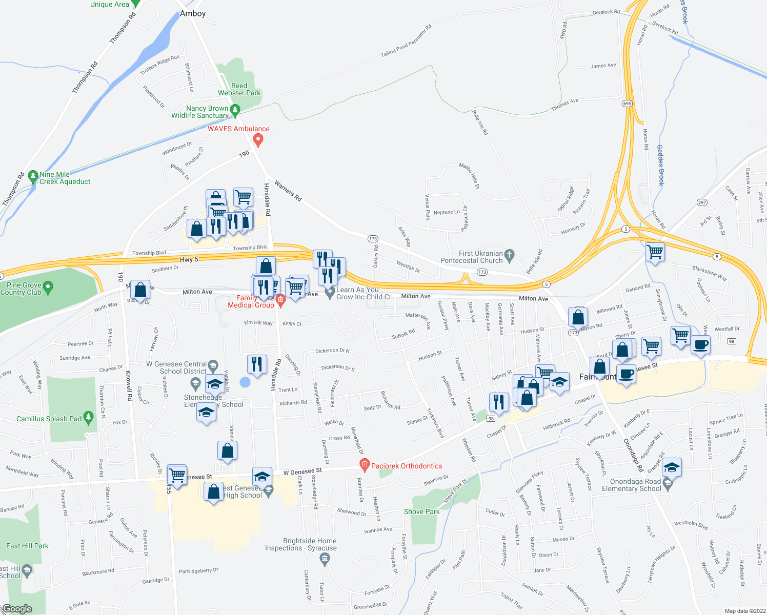 map of restaurants, bars, coffee shops, grocery stores, and more near Oak Crest Courtyard in Fairmount