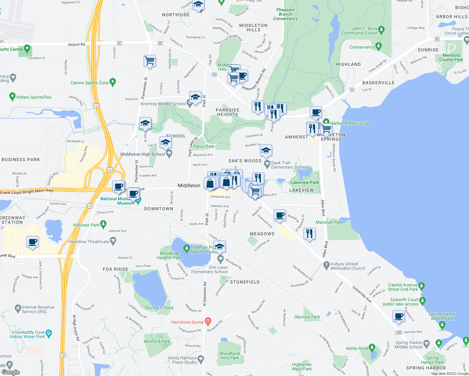 map of restaurants, bars, coffee shops, grocery stores, and more near University Ave & Mayflower Dr in Middleton