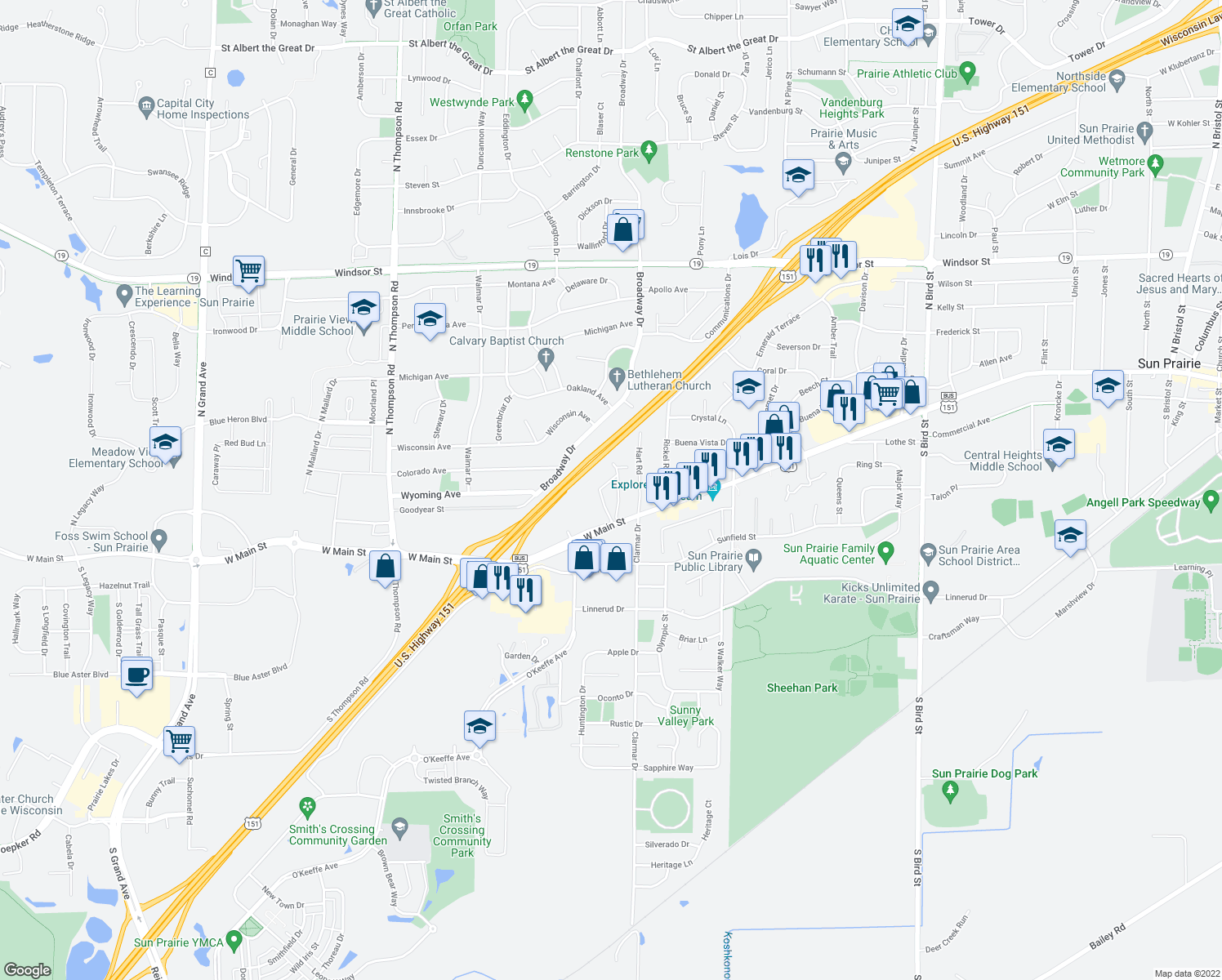 map of restaurants, bars, coffee shops, grocery stores, and more near 102 Park Circle in Sun Prairie