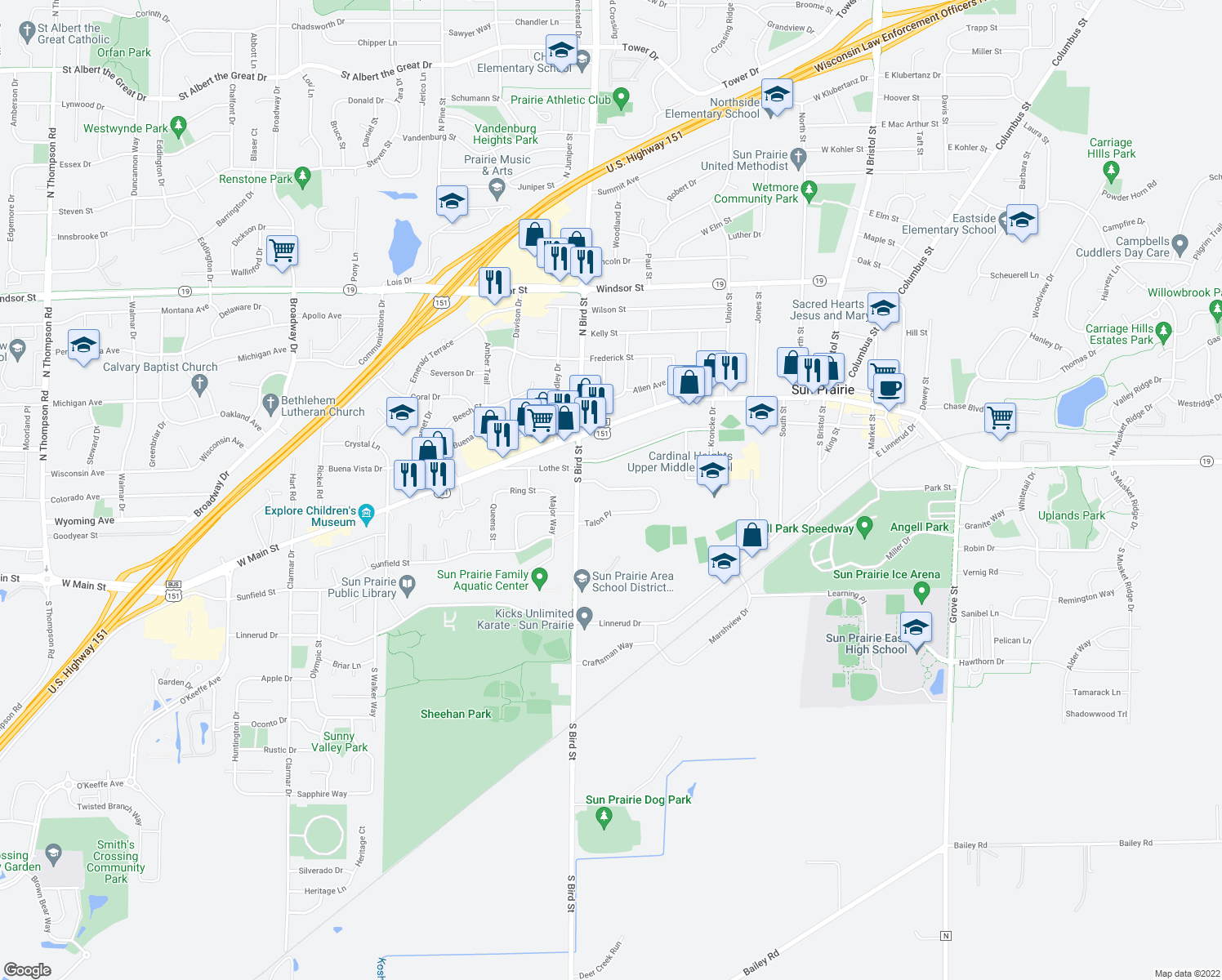 map of restaurants, bars, coffee shops, grocery stores, and more near 146 Talon Place in Sun Prairie
