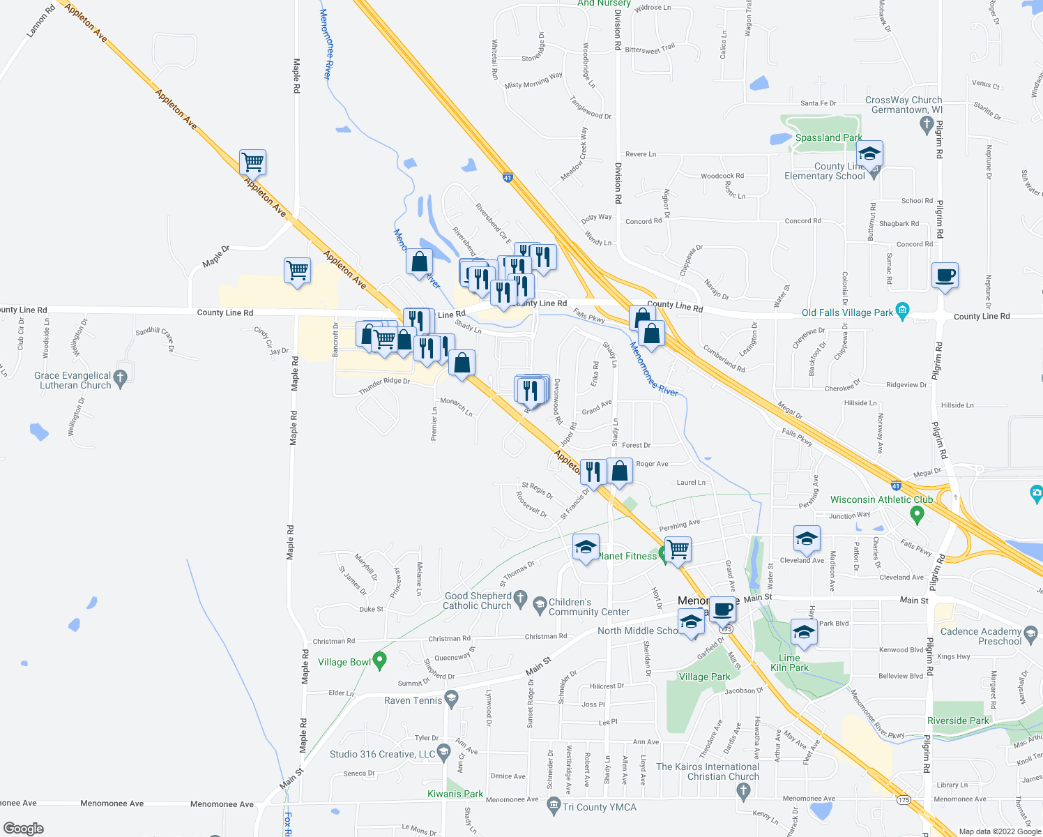 map of restaurants, bars, coffee shops, grocery stores, and more near Appleton Avenue & White Oak Circle in Menomonee Falls
