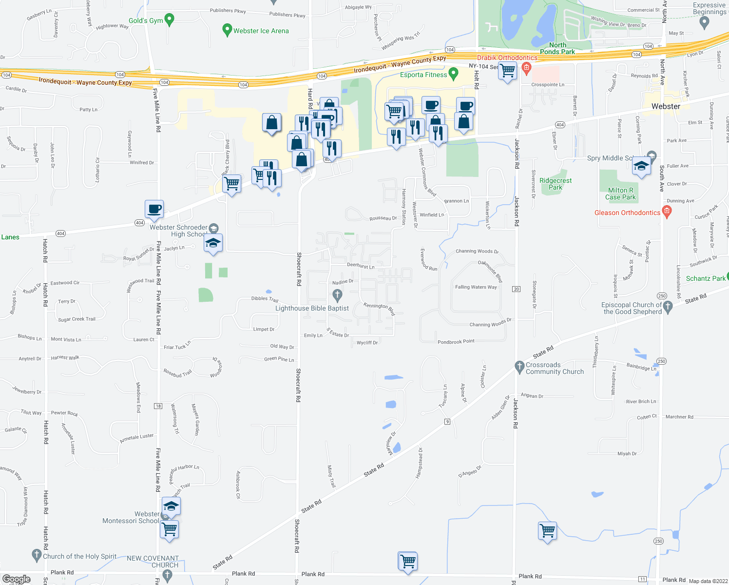 map of restaurants, bars, coffee shops, grocery stores, and more near 442 Kennington Boulevard in Webster