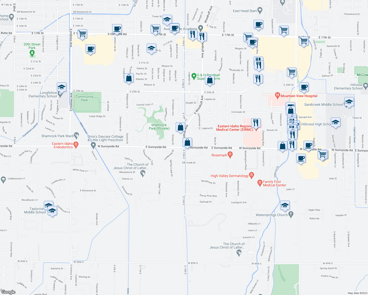 map of restaurants, bars, coffee shops, grocery stores, and more near 2775 Saint Clair Road in Idaho Falls