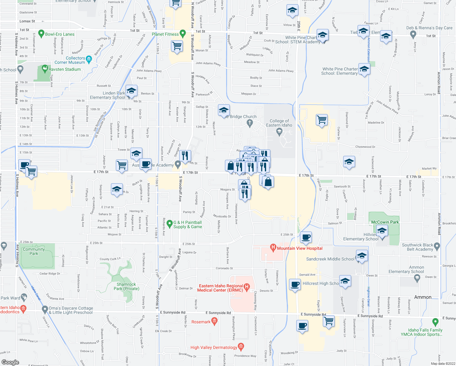 map of restaurants, bars, coffee shops, grocery stores, and more near 1970 East 17th Street in Idaho Falls