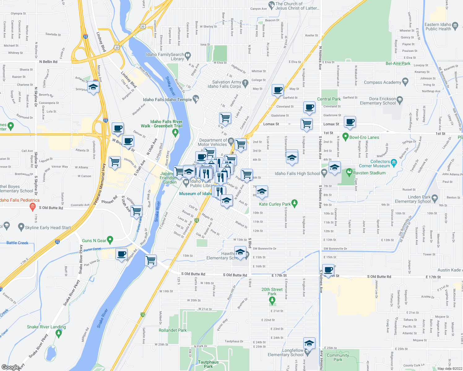 map of restaurants, bars, coffee shops, grocery stores, and more near North Water Avenue in Idaho Falls