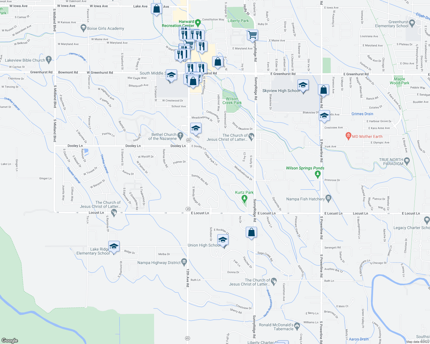 map of restaurants, bars, coffee shops, grocery stores, and more near 3346 Cedar Park Pl in Nampa