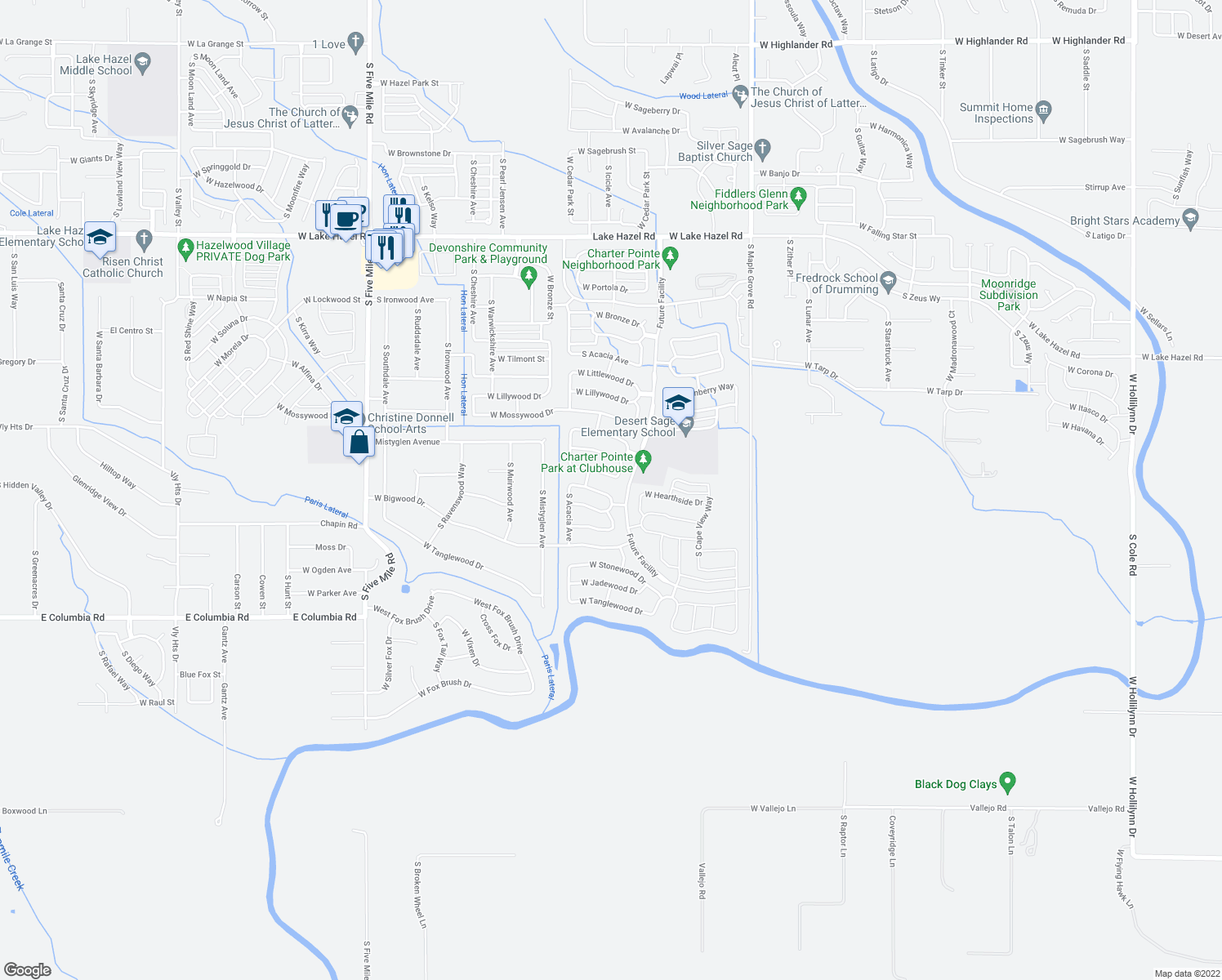 map of restaurants, bars, coffee shops, grocery stores, and more near 7176 South Kaywood Avenue in Boise