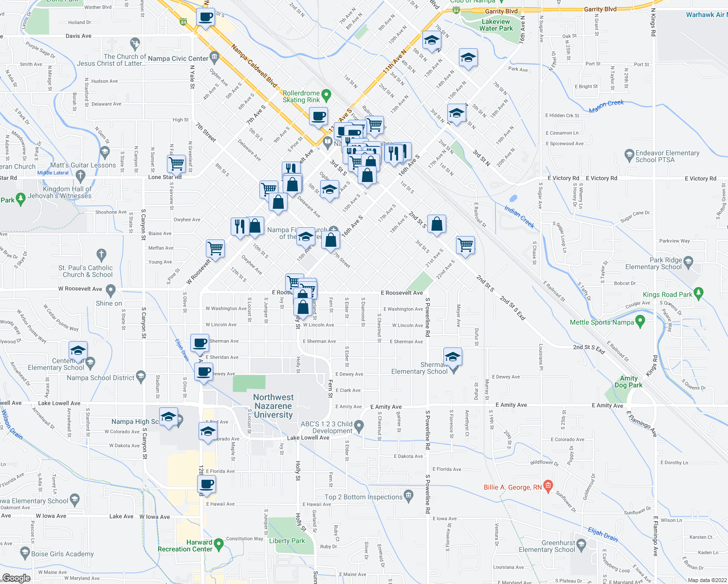 map of restaurants, bars, coffee shops, grocery stores, and more near 1104 E Roosevelt Ave in Nampa