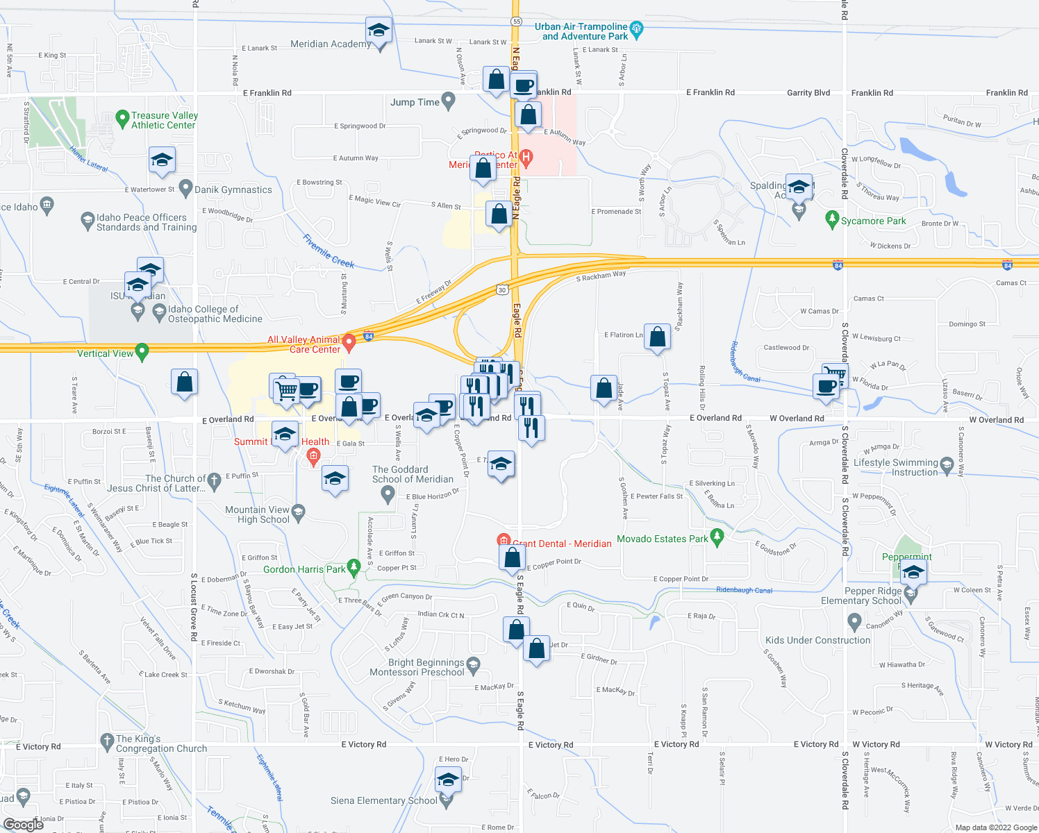 map of restaurants, bars, coffee shops, grocery stores, and more near 3135 E Overland Rd in Meridian