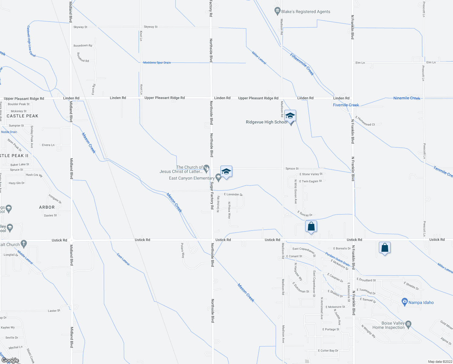 map of restaurants, bars, coffee shops, grocery stores, and more near 18408 Northside Blvd in Nampa