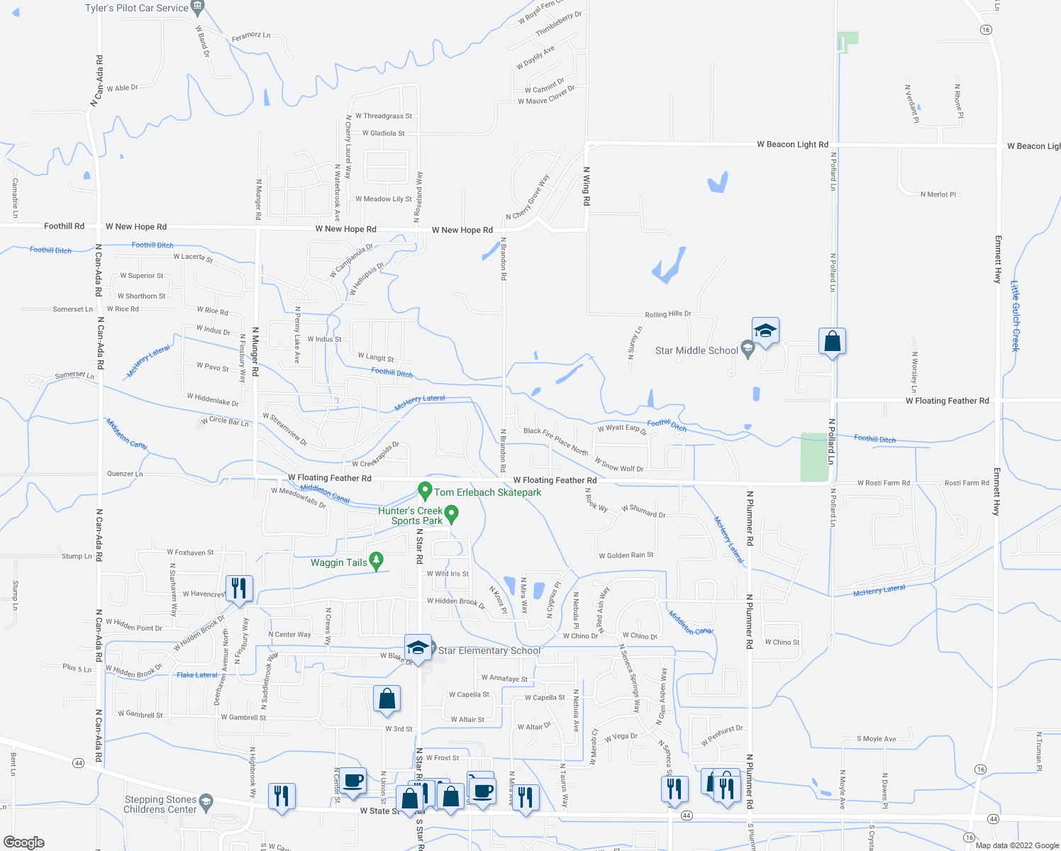 map of restaurants, bars, coffee shops, grocery stores, and more near 10707 West Snow Wolf Drive in Star