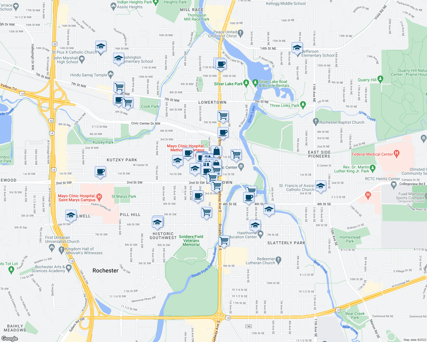 map of restaurants, bars, coffee shops, grocery stores, and more near 15 1st Street Southwest in Rochester