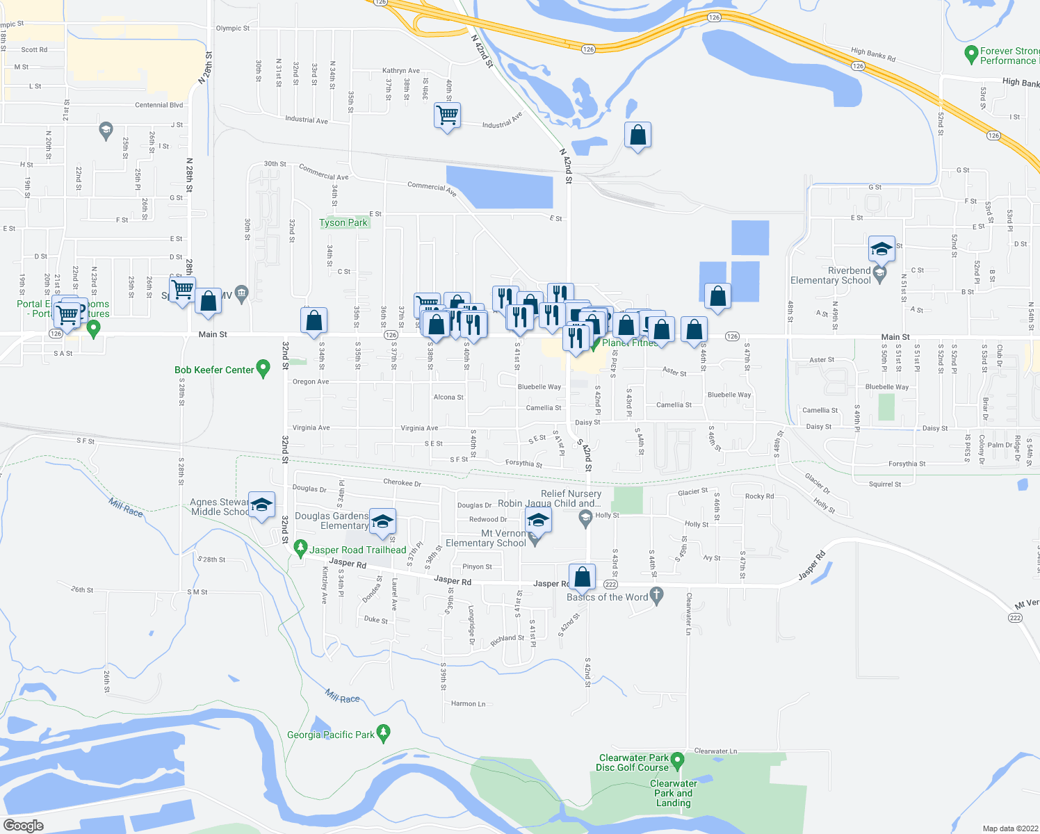 map of restaurants, bars, coffee shops, grocery stores, and more near 4085 Virginia Avenue in Springfield