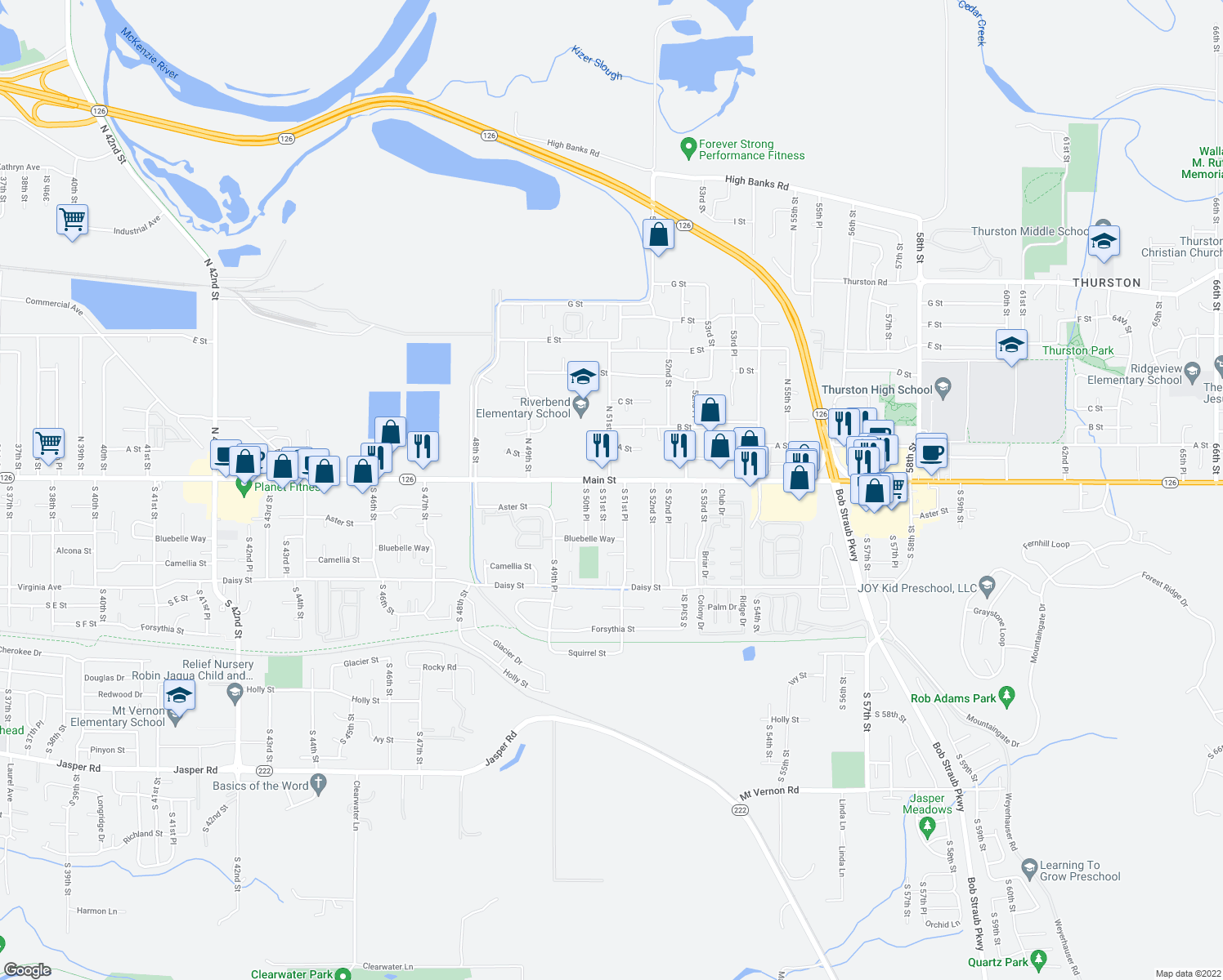 map of restaurants, bars, coffee shops, grocery stores, and more near 5094 Main St in Springfield