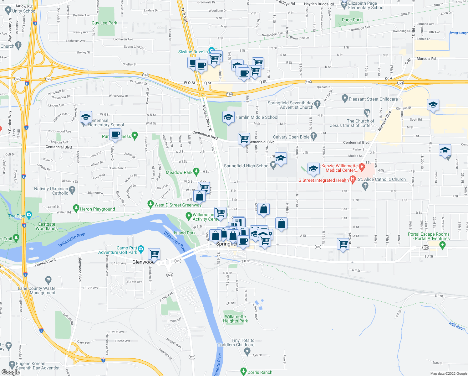 map of restaurants, bars, coffee shops, grocery stores, and more near 736 4th Street in Springfield
