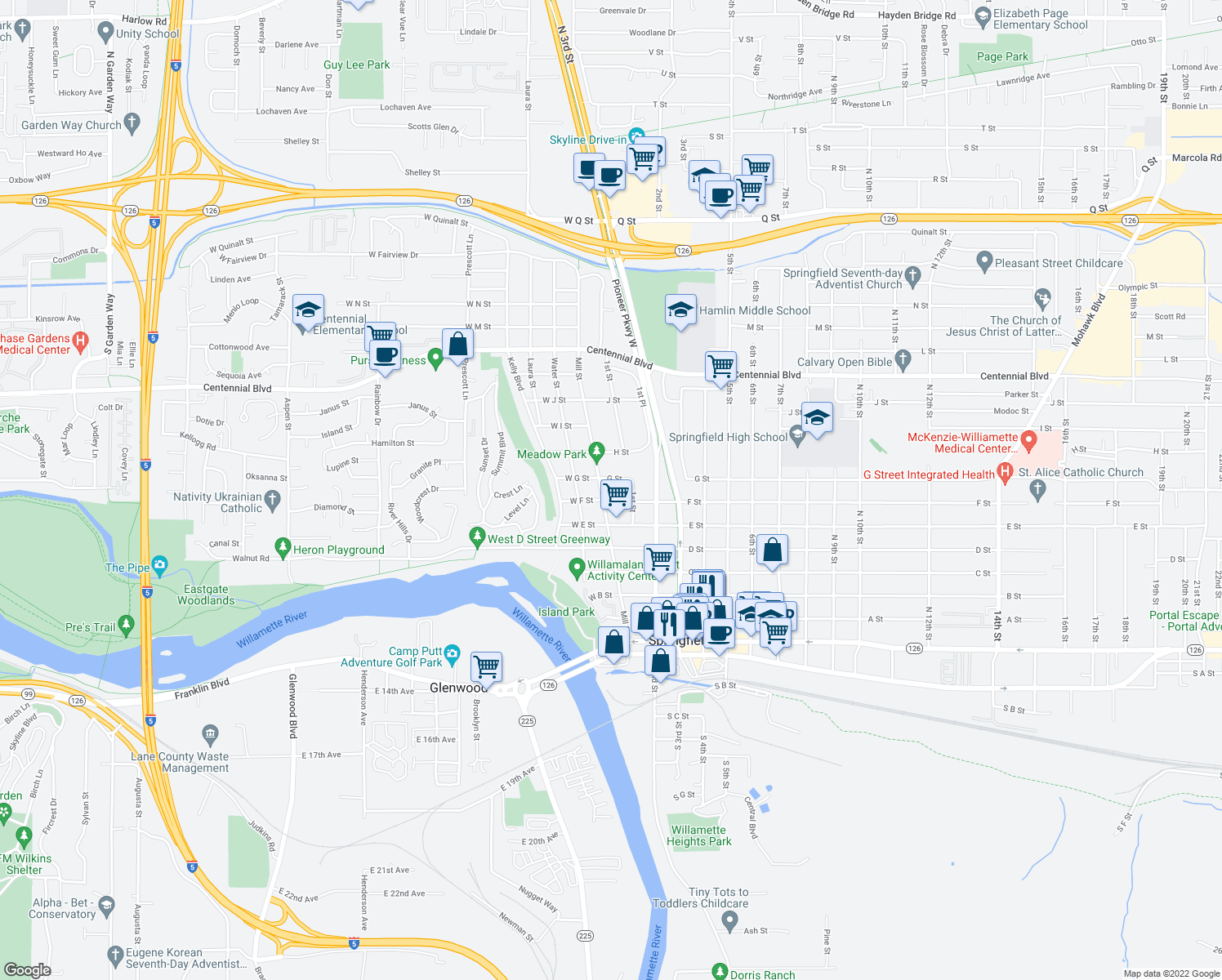 map of restaurants, bars, coffee shops, grocery stores, and more near 733 Mill St in Springfield
