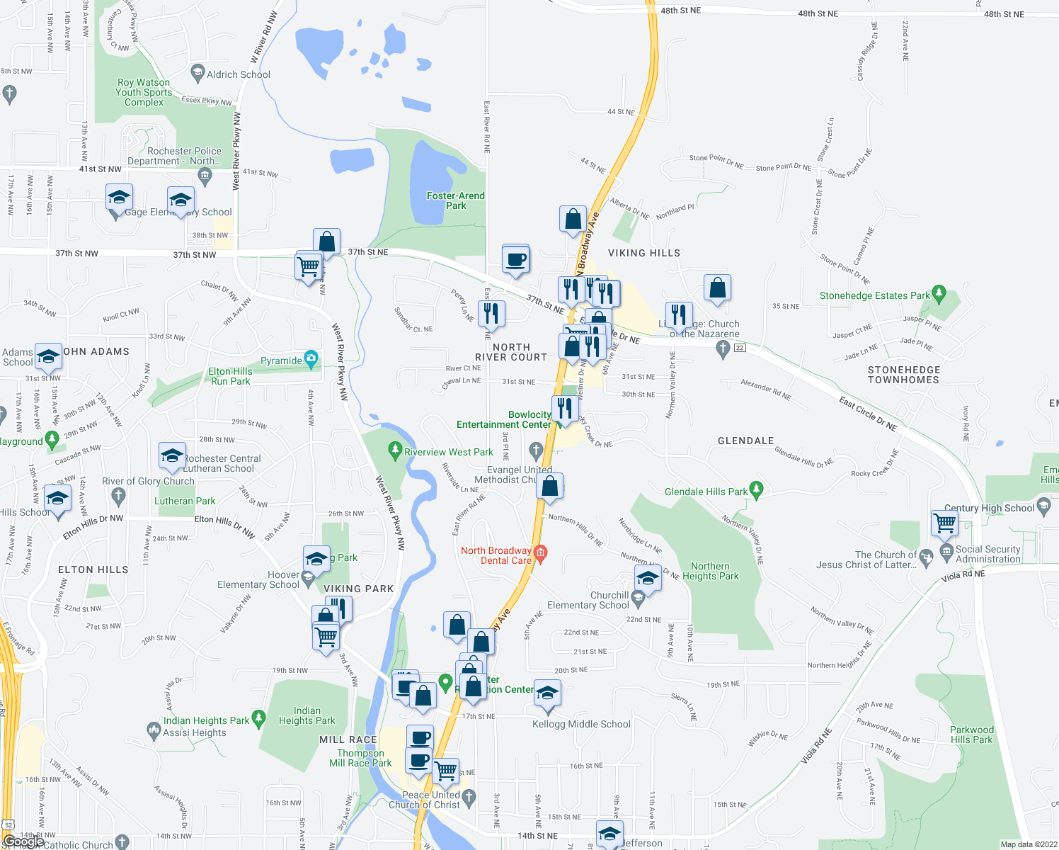 map of restaurants, bars, coffee shops, grocery stores, and more near 418 27th Street Northeast in Rochester