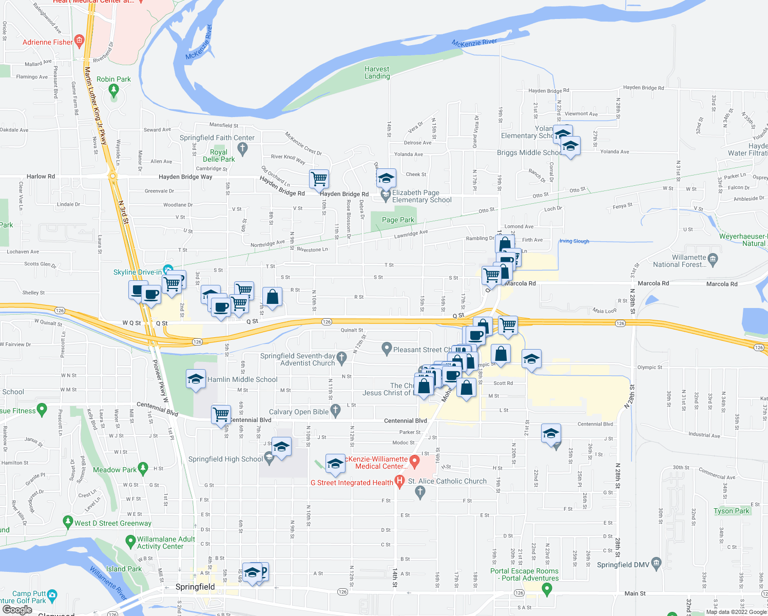 map of restaurants, bars, coffee shops, grocery stores, and more near 1160-1198 Q St in Springfield