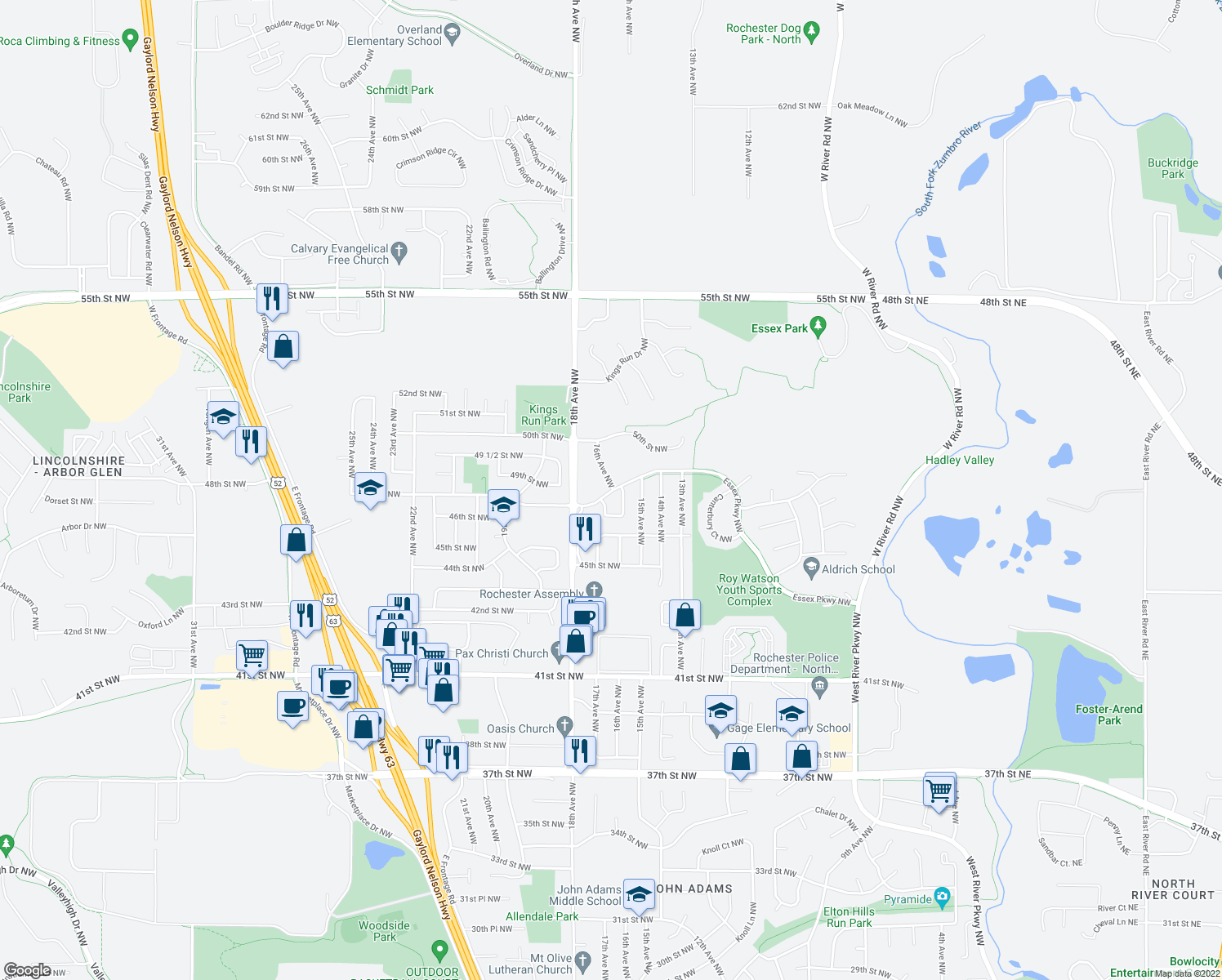 map of restaurants, bars, coffee shops, grocery stores, and more near 4836 16th Avenue Northwest in Rochester