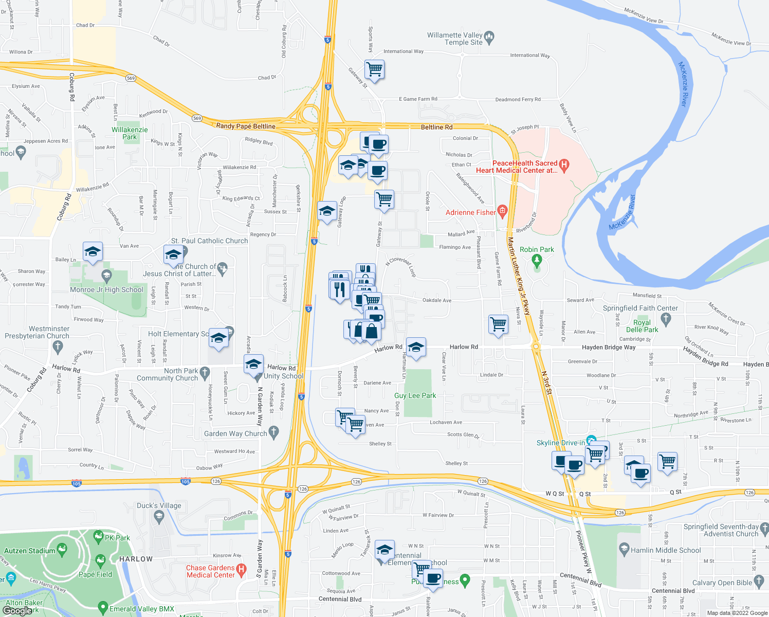 map of restaurants, bars, coffee shops, grocery stores, and more near 2727 Gateway Street in Springfield