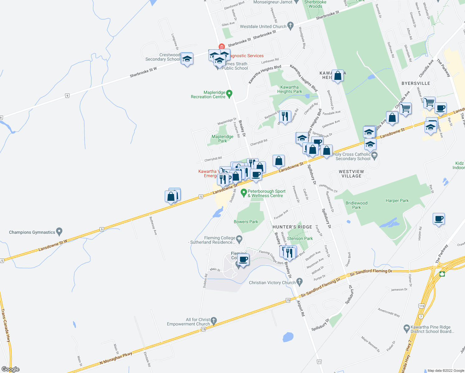 map of restaurants, bars, coffee shops, grocery stores, and more near 1866 Lansdowne Street West in Peterborough