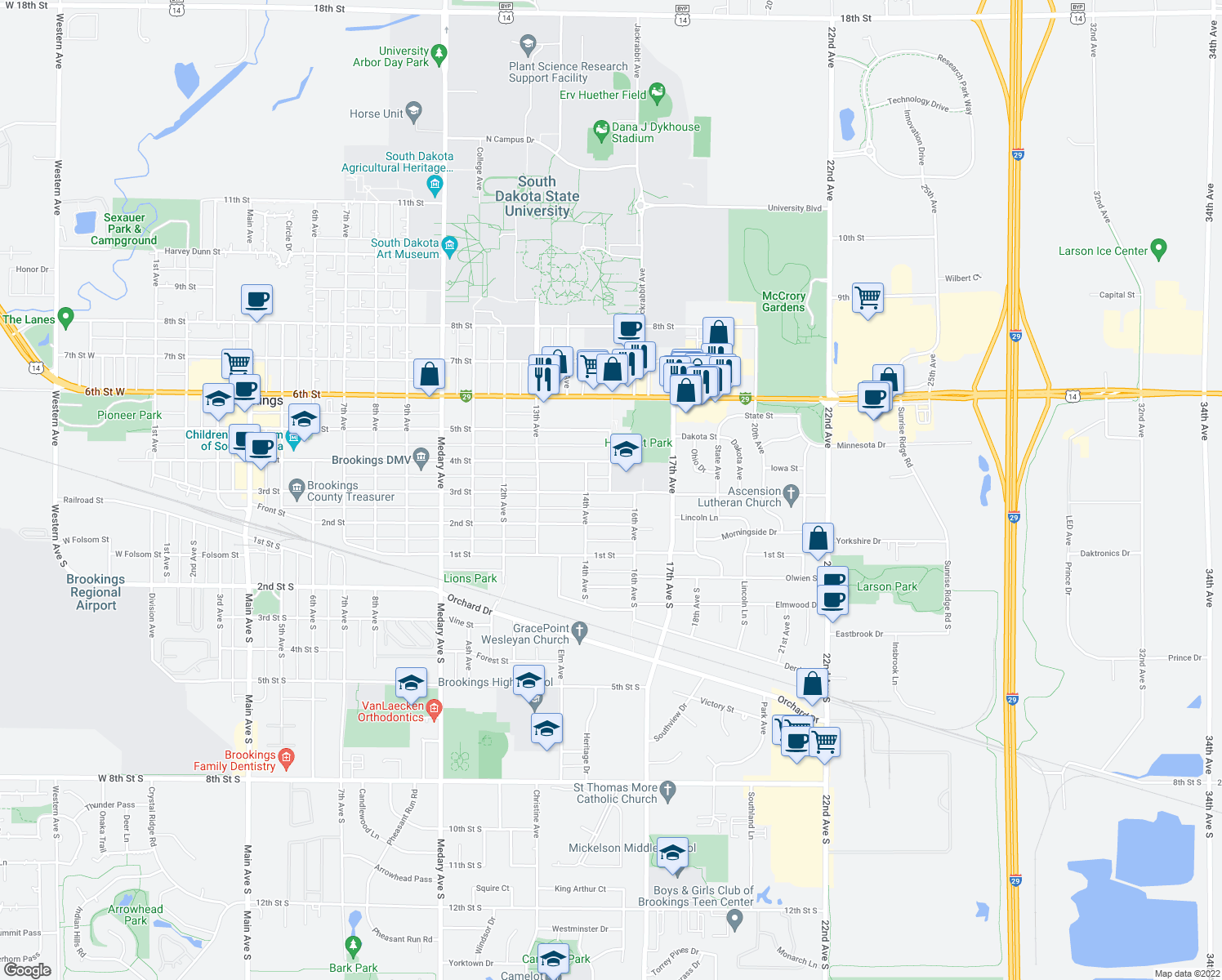 map of restaurants, bars, coffee shops, grocery stores, and more near 317 15th Aven