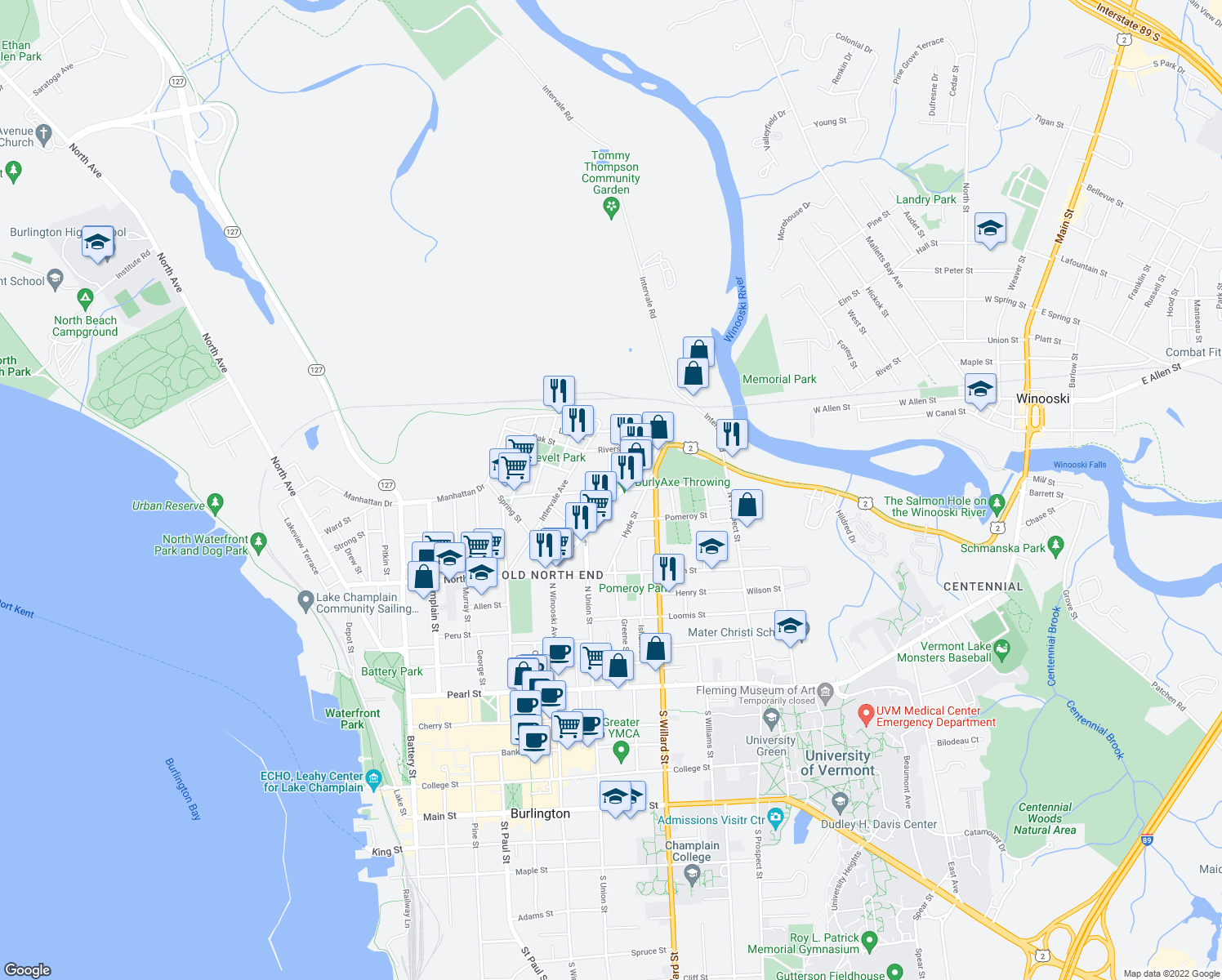 map of restaurants, bars, coffee shops, grocery stores, and more near Archibald St & Bright St in Burlington