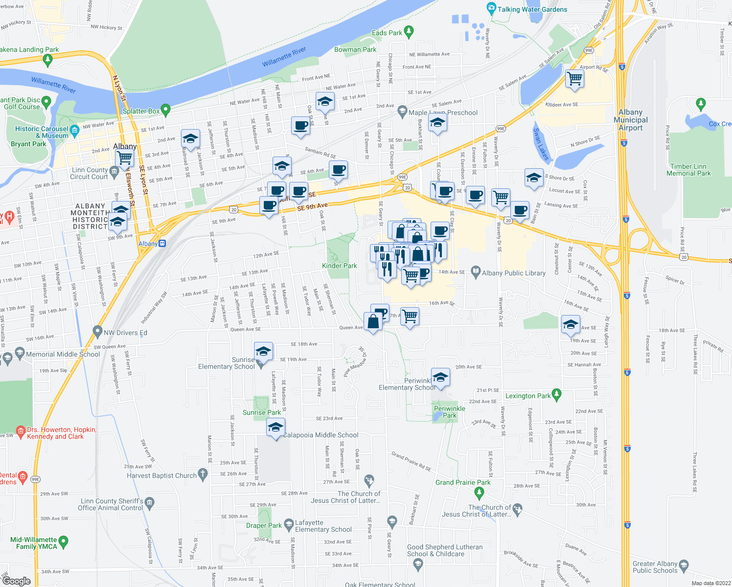 map of restaurants, bars, coffee shops, grocery stores, and more near 1490-1578 Geary Cir SE in Albany