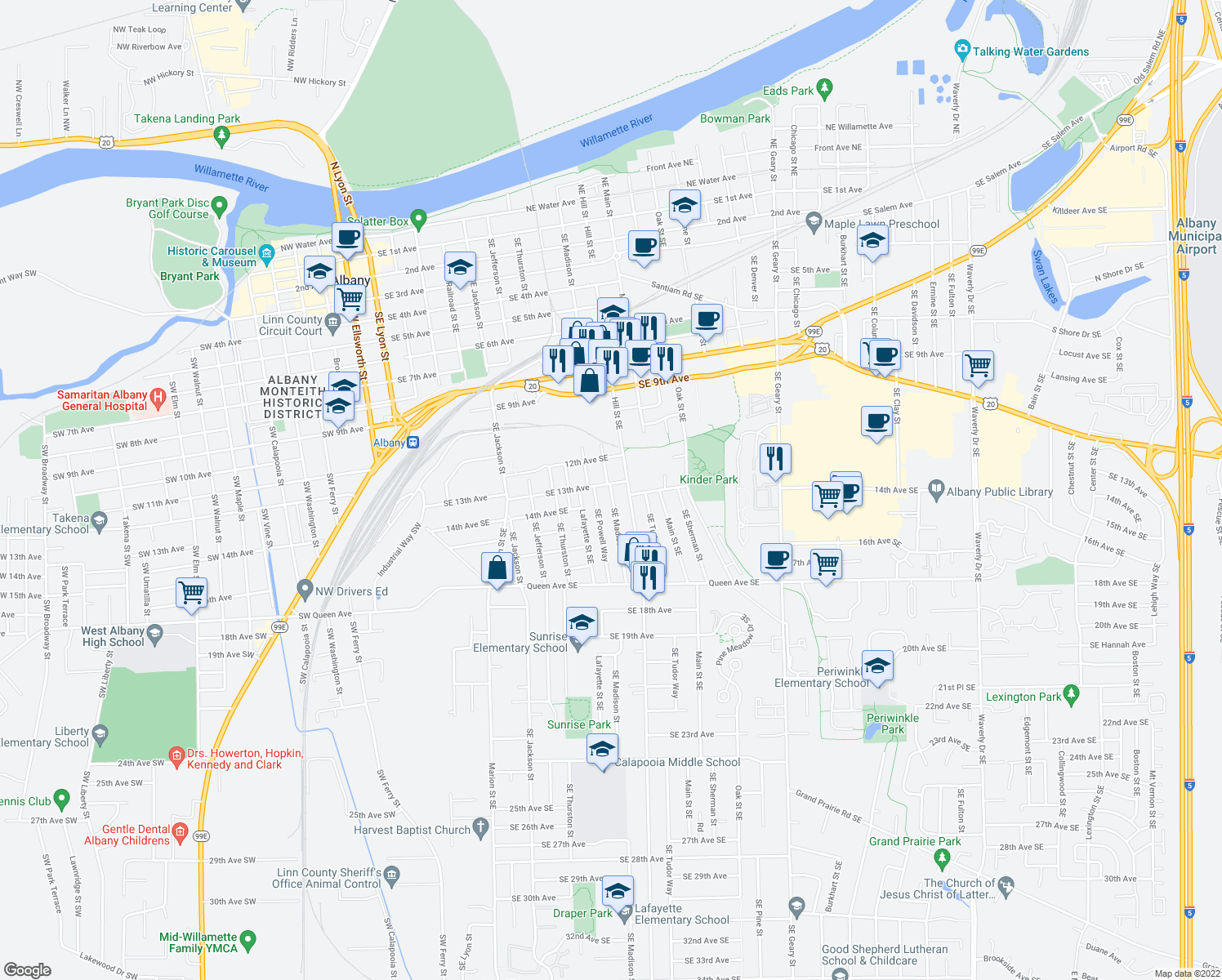 map of restaurants, bars, coffee shops, grocery stores, and more near 1320 Southeast Madison Street in Albany