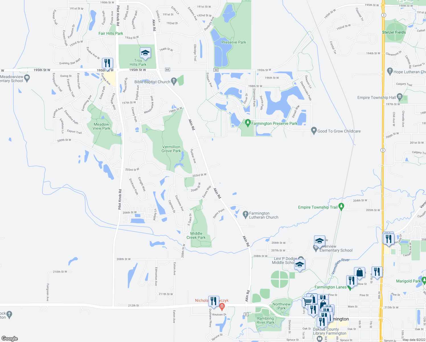 map of restaurants, bars, coffee shops, grocery stores, and more near 20226 Akin Road in Farmington