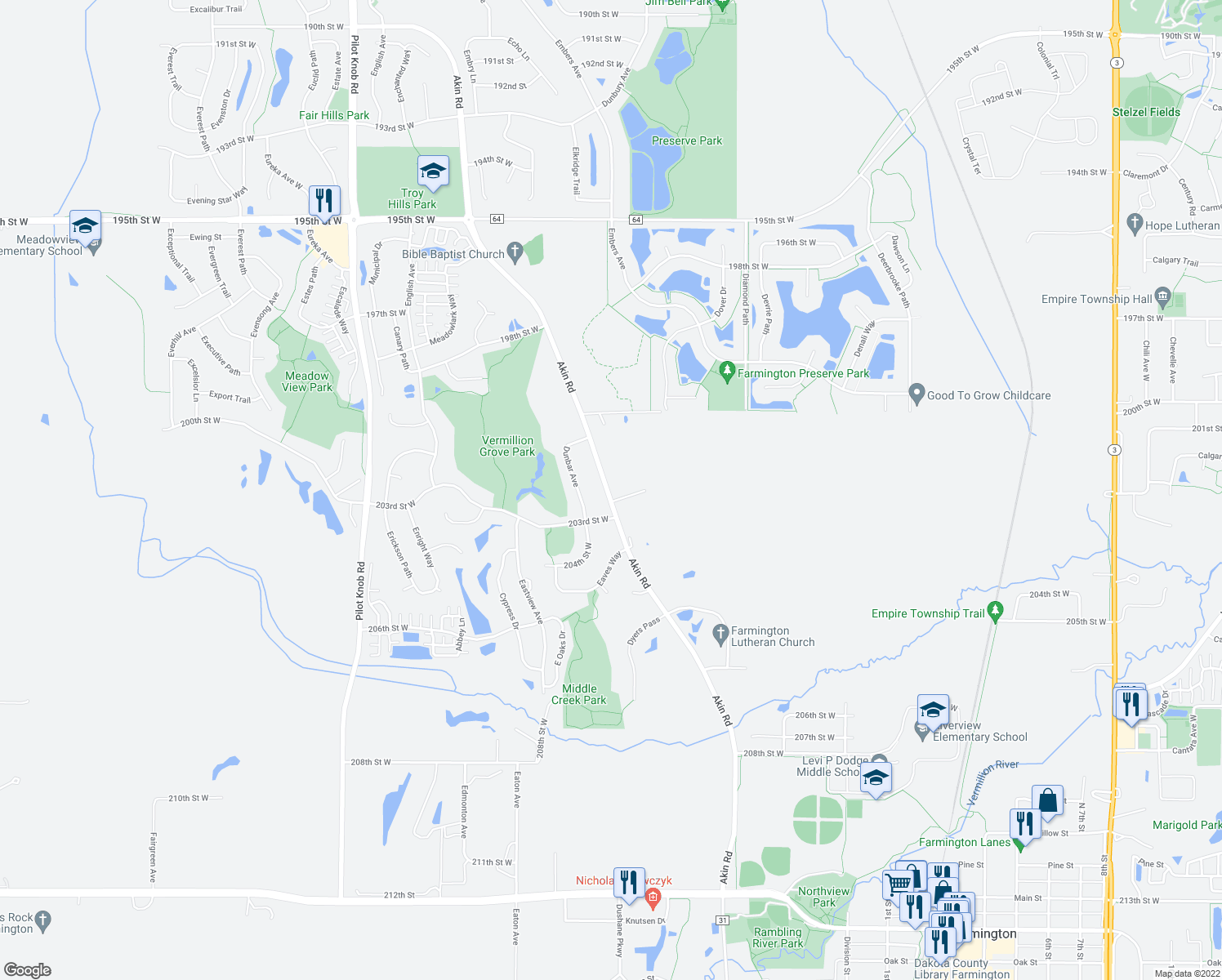 map of restaurants, bars, coffee shops, grocery stores, and more near 20216 Akin Road in Farmington