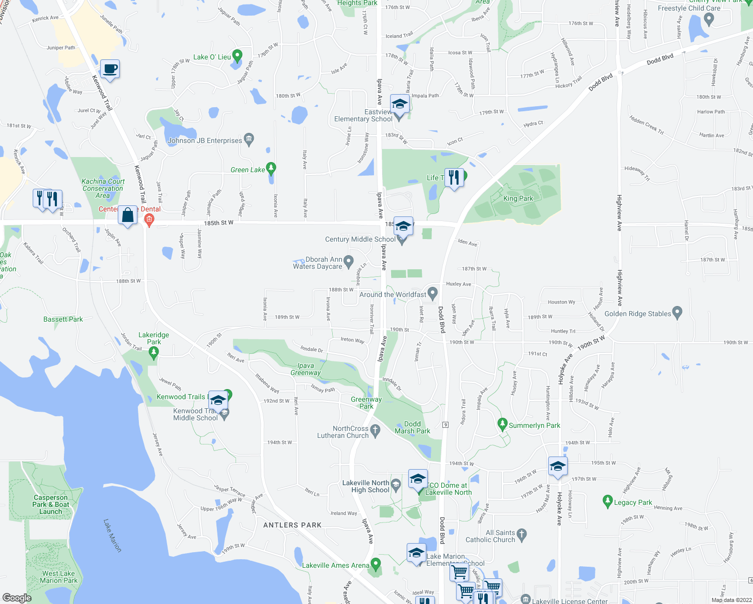 map of restaurants, bars, coffee shops, grocery stores, and more near 18892 Ironriver Trail in Lakeville